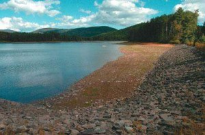 Kingston's Cooper Lake reservoir in drought in 2012, where the water levels were down 12.7 feet.