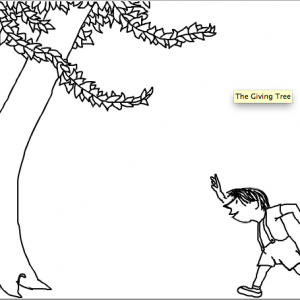 "Click on the image to view the original ""The Giving Tree"" narrated by Shel Silverstein himself."