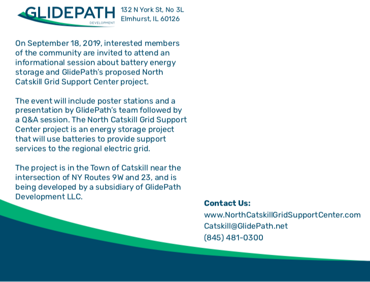 """Think Globally Act Locally"" Strategies at Work. GlidePath Introduces Battery Energy Storage Facility in the Town of Catskill."