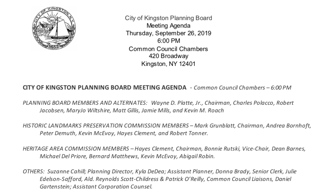 VIDEO: Special Joint Meeting on the Kingstonian Project (9/26/19)
