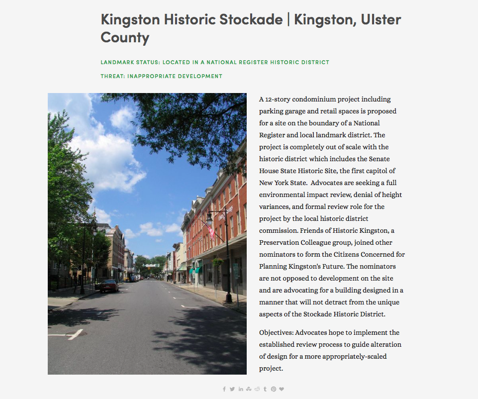 Do you remember?  2007: Kingston Historic Stockade District placed on 'Seven to Save' list. What KingstonCitizens.org will be following in 2020